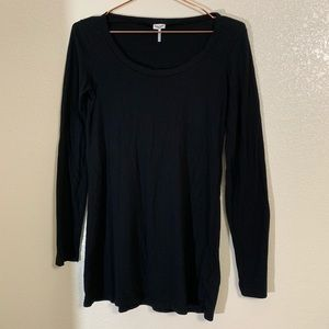 Splendid | Black Long Sleeve Basic Black Tunic Tee